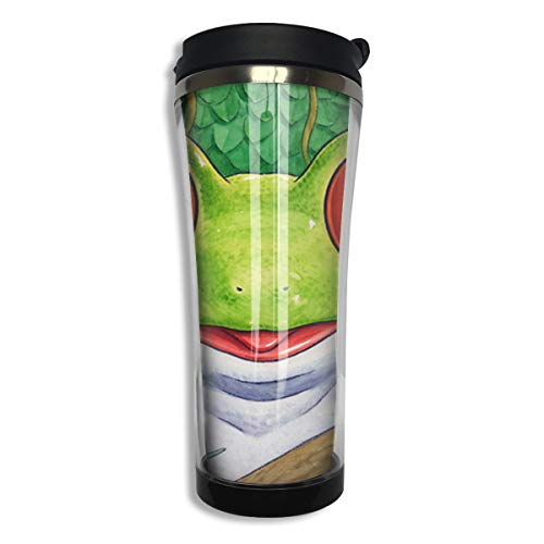 (customgogo BPA Free Flip Cap Coffee Mug Double Wall Vacuum Travel Tumbler Frog Travel Mug for Home,Office,School - Works Great for Hot and Cold Drink)