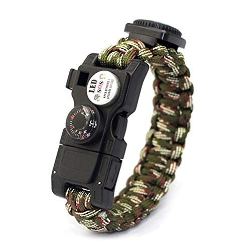 - SODIAL 10 in 1 Multifunctional Outdoor Compass Thermometer Survival Weaving Bracelet,Umbrella Rope Bracelet lf Defen Survival Bracelet Tool Military Fan