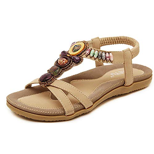 Summer Flats Herringbone Sandals for Women, Huazi2 Sweet Beaded Clip Toe Shoes Khaki -