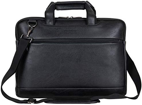 "Kenneth Cole Reaction ProTec Faux Pebbled Leather Slim 16"" Laptop Business Briefcase / Tablet Bag, Black"