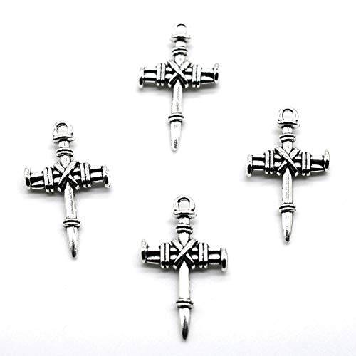 (MT 2007 Alloy Charms, Silver Tone Handmade Supply Charms, Handmade Craft, Handmade Jewelry Supply (40PCS JHS60 Cross Charms))