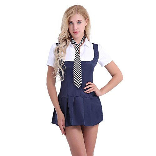 Agoky Adult Schoolgirl Student Costume Uniform Necktie Pleated Skirt Cosplay Outfit Fancy Dress Navy Blue+White -