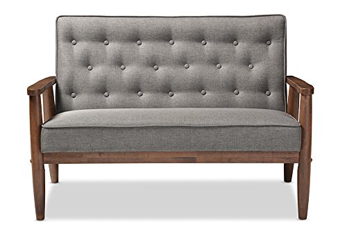 Baxton Studio Sorrento Mid-Century Retro Modern Fabric Upholstered Wooden 2-Seater Loveseat, Grey (Red Leather Settee)