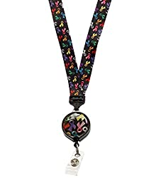 Ribbons of Hope Multi Color Cause Ribbon ID Lanyard with Retractable Badge Reel