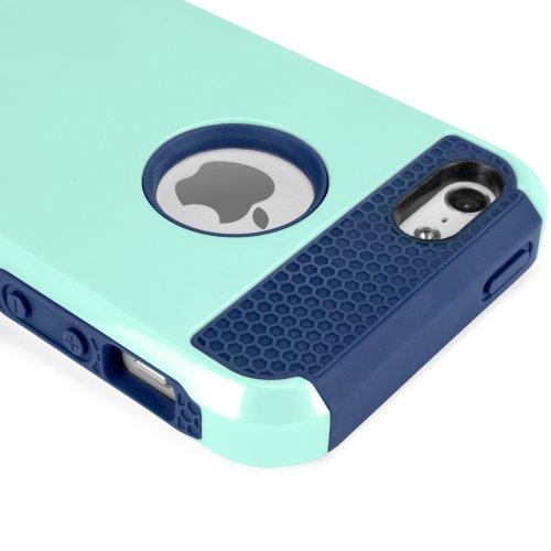 Coque Iphone se, BoxWave® [DUOCOLOR avec coque rigide robuste Chargeur Porte-clés Bonus], fine–Finition Brillant et mat pour Apple iPhone se, 5S, 5–Bleu turquoise/Bleu Marine