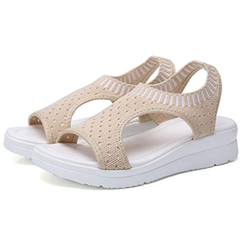 CCOOfhhc Women's Flat Sandals Comfy Platform Sandal Shoes Summer Beach Travel Shoes Non-Slip Casual Shoes Beige by CCOOfhhc (Image #1)