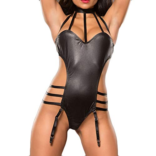 XILALU Sexy Women Leather Bandage Lingerie Strappy Cut Out Jumpsuit Party Clubwear with Garter ()