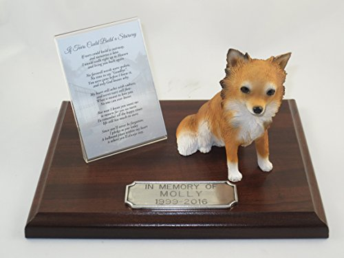 (Beautiful Walnut Finished Personalized Memorial Plaque With Tan & White Long Hair Chihuahua Figurine)
