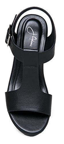 ZooShoo Chunky Wide T-Strap Platform Heel Sandal 6.5
