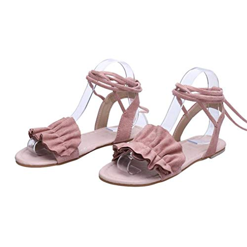 Women Sandals Summer, Women Solid Color Ruffle Round Toe Flat Heel Cross Tied Sandals Rome Shoes - Pearl 8130 Leather