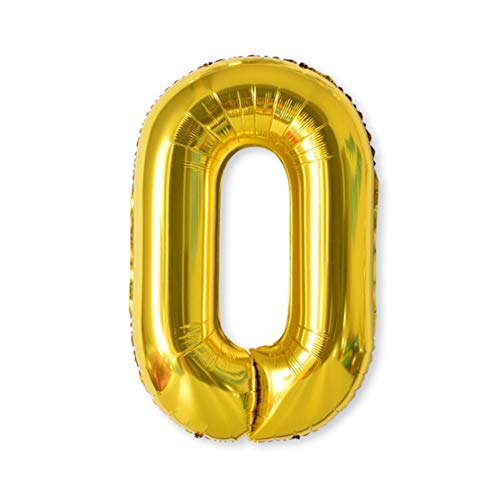 Balloon Number, 40 inch Gold Foil Balloons Numbers Mylar 0-9 Birthday Party Decorations of Arabic Number for Birthday Party, Wedding, Bridal Shower, Engagement Photo Shoot, Anniversary (0) ()