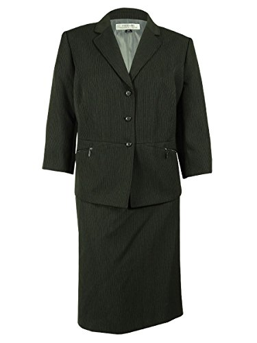 Tahari ASL Women's Plus-Size Laura Skirt Suit, Charcoal Grey, 24W