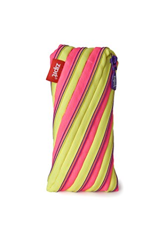 ZIPIT Twister Pencil Case, Yellow and Pink