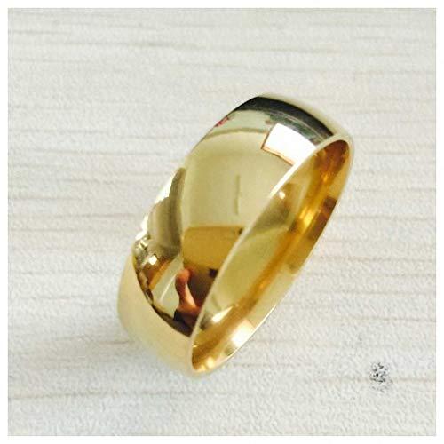 Giwotu Womens Mens Ring High Polish Wide 8MM Men Wedding Gold Rings Real 22K Gold Filled 316L Titanium Finger Rings for Men Never Fading USA Size 6-14