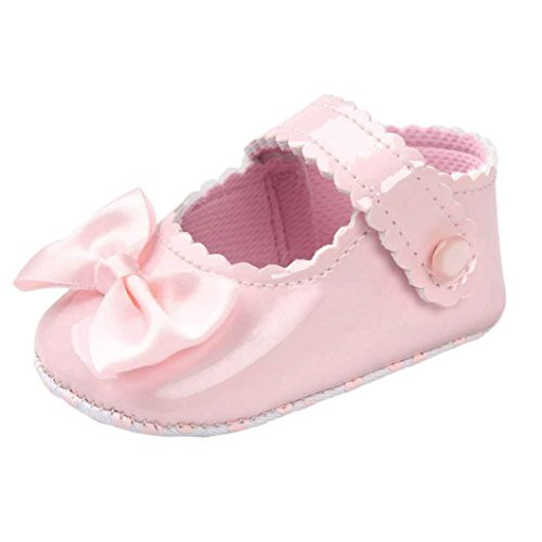 Sunyastor Baby Girl Bowknot Leater Rhinestone Buckle Strap Oxford Ballerina Flat Anti-Slip Soft Sole Toddlerr (Pink, Asia 12) ()