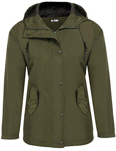 Meaneor Women's Waterproof Lightweight Rain Jacket with Hood Army Green XL