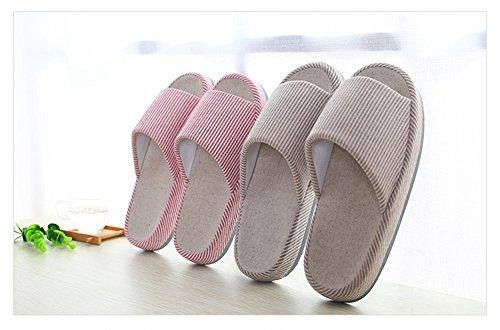 VWU Unisex Lovers Couple Slippers Women Men Soft Sole Stripes Cotton Linen Flax Slide Slippers Indoor House Slippers Cotton Hemp Blend Red s5fPCepU