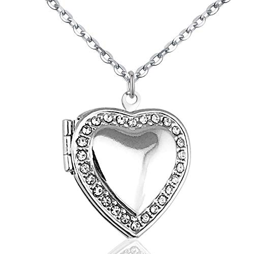 Power Wing April Birthstone Clear CZ Love Heart Locket Necklace That Holds Pictures Living Memory Lockets,18
