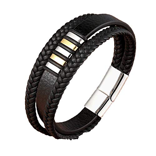 - 3 Layers Black Gold Punk Style Design Genuine Leather Bracelet for Men Steel Magnetic Button Birthday Gift Male Bracelets,Gold with Steel,21cm