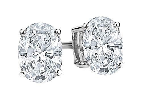 2.5 Carat Platinum GIA Certified Oval Cut Diamond Earrings Screw Back Ultra Premium Collection (H-I Color, VS1-VS2 Clarity) ()