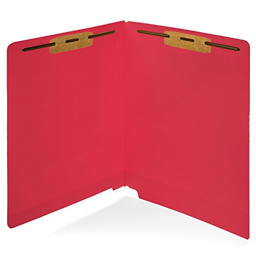 Red End Tab Folder (50 Red End Tab Fastener File Folders- Reinforced Straight Cut Tab- Durable 2 Prongs designed to organize standard medical files, receipts, office reports, and more - LETTER Size, Red, 50 PACK)