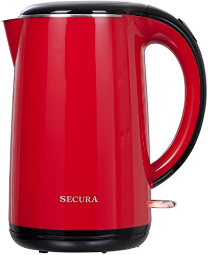 Secura 1.8 Quart Stainless Steel Electric Water Kettle Double Wall Cool Touch Exterior (Red)