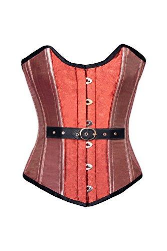 共和党輝く虐待Orange Pink Silk Gothic Burlesque Bustier Waist Cincher Overbust Corset Costume