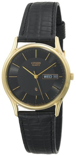 Citizen Men's BK3302-08E Gold-Tone Black Leather Watch
