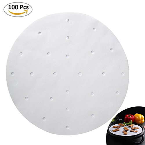Naomi Parchment Paper Liners-Air Fryer-100pcs - 9 Inch Round-Bamboo Steamer Liners Great for Cooking all Foods Vegetables Rice Dim Sum