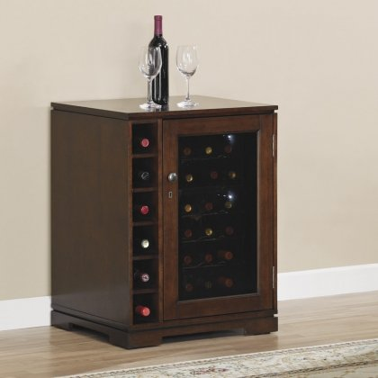 Tresanti DC9416X292-1818 Cabernet Thermoelectric Wine Cooler with Dual Cooling Zones Open Side Storage Distinctive Pedestal Base Locking Door Mechanism and Beveled Amber Glass Panel Door in