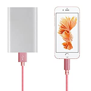 QSStech iphone Charger 3PCS 3FT 6FT 10FT Nylon Braided Lightning USB Cable Cord Charger Compatible with iPhone 7 7 Plus 6 6s 6 plus, iPhone 5 5s,iPad, iPod (Rose)