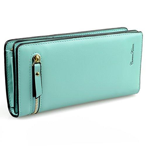 Gottowin Women Long Wallet Clutch Handbag Card Cellphone Coin Organizer Mint Green PU Leather Purse Medium Size + Card Holder