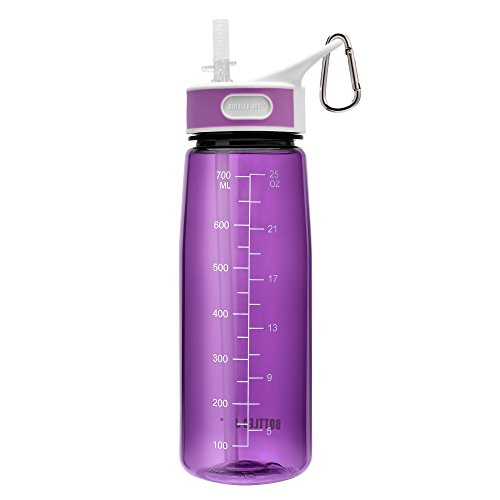 BOTTLED JOY BPA Free Tritan Bite Valve Water Bottle with Straw and Handle, Wide Mouth 100% Leak Proof Camping Water Bottles 27oz 800ml - Vt Day Kids