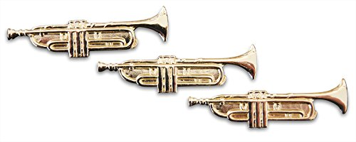 String Bass Costume (3-Piece Brass Trumpet Musician Lapel or Hat Pin & Tie Tack Set with Clutch Back by Novel Merk)