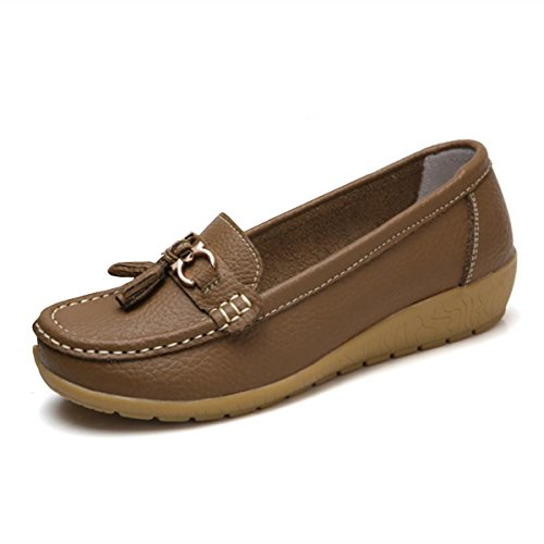 Women Loafers Leather Oxford Slip On Walking Flats Anti-Skid Boat Shoes (7 B (M) US, V-Coffee)