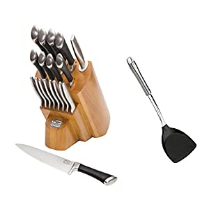 Contemporary Premier 18 Piece Knife Block Set Comes With Spatula Set