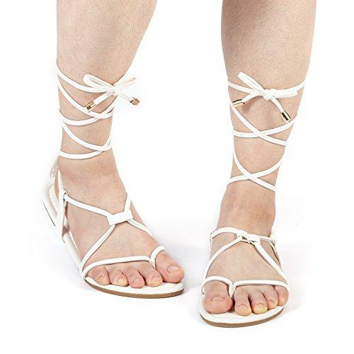 DREAM PAIRS Women's Sammy_02 White Fashion Gladiator Design Lace Up Flat Sandals Size 11 M US