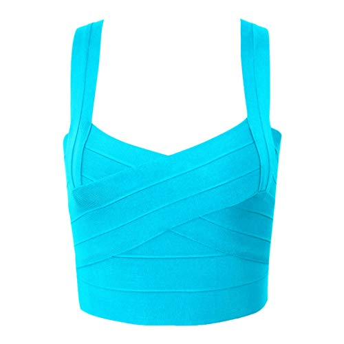 Rayon Short Sexy Women's Bandage Crop Top Summer Vest Sky Blue Xs