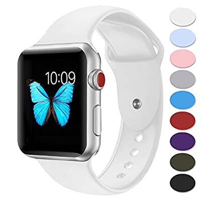 Sport Band for Apple Watch,Choose Proper Color & Size-38MM S/M,38MM M/L,42MM S/M or 42MM M/L,Misker Soft Silicone Strap Replacement Wristbands for Apple Watch Sport Series 3/2/1 by Misker