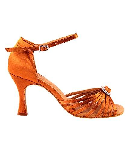 Veldig Fine Ballroom Latin Tango Salsa Dans Sko For Kvinner Sera1671b 2,5 Tommers Hæl + Sammenleggbar Børste Bunt Oransje Brunfarge Satin