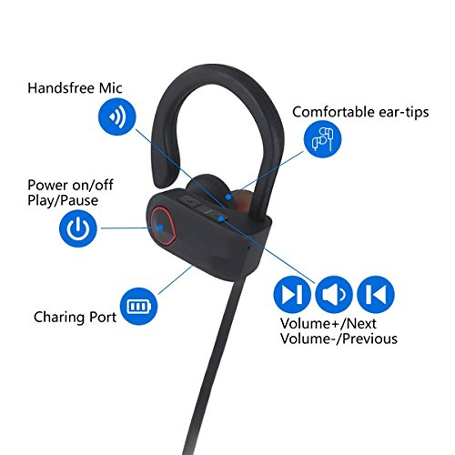Nanle HD Stereo Wireless Headphones Curve Bluetooth 4.1 Best Sports Earphones Waterproof Sound Sweatproof Earbuds for Gym Running Workout 8 Hour Battery Noise Cancelling Headsets (Color : Red) by Nanle (Image #6)