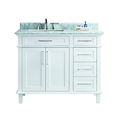 "Ari Kitchen and Bath  Newport Bathroom Vanity, White, 42"" W x 22"" D x 34.5 H - Solid hardwood construction Handcrafted furniture - Tenon and mortise construction to lasts a lifetime. Full extension soft-closing drawers and doors - bathroom-vanities, bathroom-fixtures-hardware, bathroom - 41t%2BorlFE9L. SS400  -"