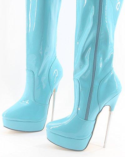 Wonderheel stiletto high heel boots sky blue patent platform over-knee stiefel crotch boots