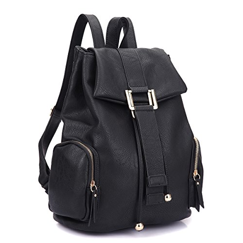 Women Fashion Faux Leather Backpack Purse Ladies Casual Drawstring Travel Rucksack Shoulder Bags by L.K