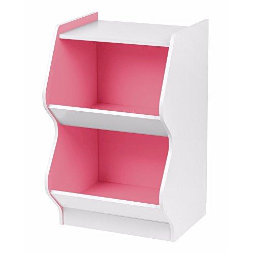 - Svitlife 2-tier White and Pink Curved Edge Storage Shelf Corner Scallop Decorative Organizer Live Pine Rustic Stand Home