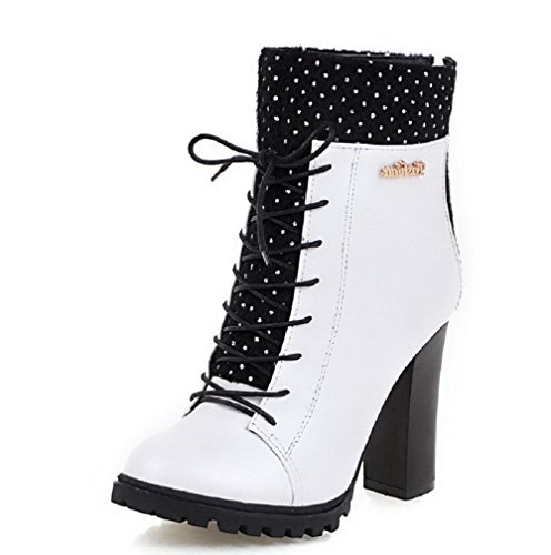 Allhqfashion Womens Rits High-heels Mix Materialen Assorti Kleur Low-top Laarzen Wit