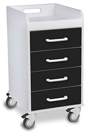"TrippNT 51146 Polyethylene Compact 4 Drawer Locking Cart, 14"" Width x 27"" Height x 19"" Depth, Black"