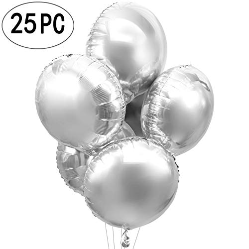 AKIO CRAFT 18inch Giant Silver Round Foil Mylar Balloons Helium Metallic Balloons Baby Shower Wedding Birthday Party Favors Decorations, -