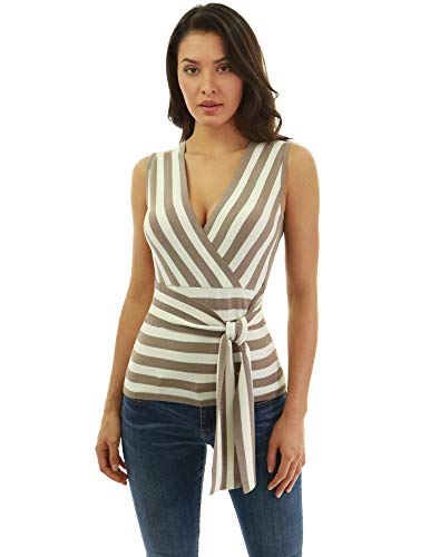 PattyBoutik Women Striped Crossover Sleeveless Knit Top (Tan and Ivory Large)