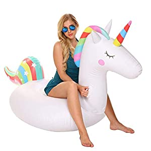 YAze Inflatable Unicorn Pool Float Animal Balloon Pool Tube Fun Beach Floaties Summer Pool Raft Lounge Swim Party Sports…